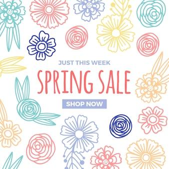 Conception de vente de printemps avec des fleurs colorées