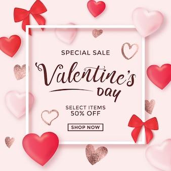 Conception de vente de saint valentin avec des éléments mignons