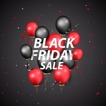 Conception de vente vendredi noir avec des ballons et des confettis