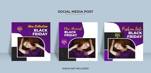 Conception de vente de vendredi noir de collection pour les médias sociaux