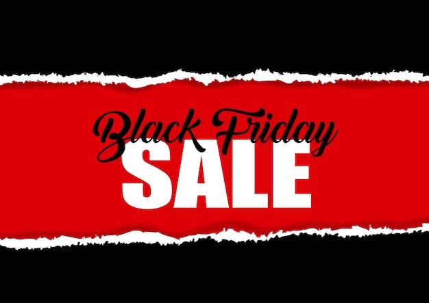 Conception de vente vendredi noir avec effet papier déchiré