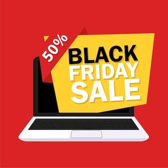 Conception de vente vendredi noir avec ordinateur portable