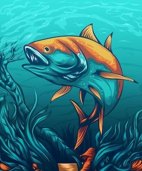 Conception de vêtements avec concept de poisson