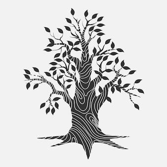 Conception de la vie des arbres dessinés à la main