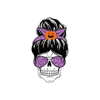 Conception de vie de maman de vacances de chignon désordonné d'halloween avec la citation maman drôle de spooky mama