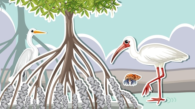 Conception de vignette avec des animaux dans la mangrove