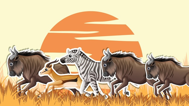 Conception de vignette avec des animaux de la savane