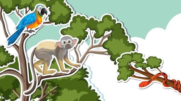Conception de vignette avec un oiseau singe et perroquet sur une branche