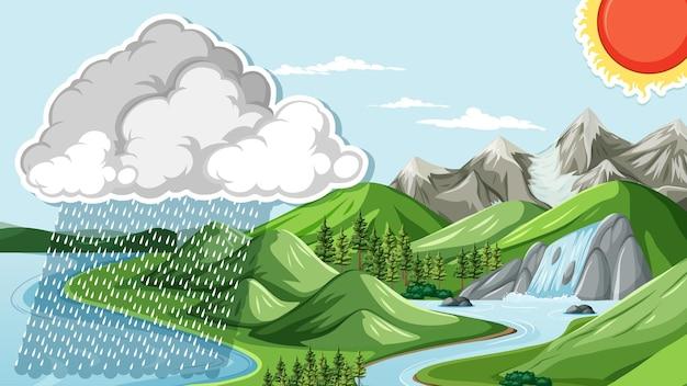 Conception de vignette avec paysage naturel avec pluie
