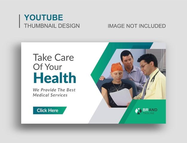 Conception de vignettes youtube et bannière web de soins de santé médicaux