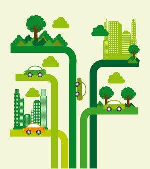 Conception de la ville des arbres au cours de l'illustration vectorielle fond blanc