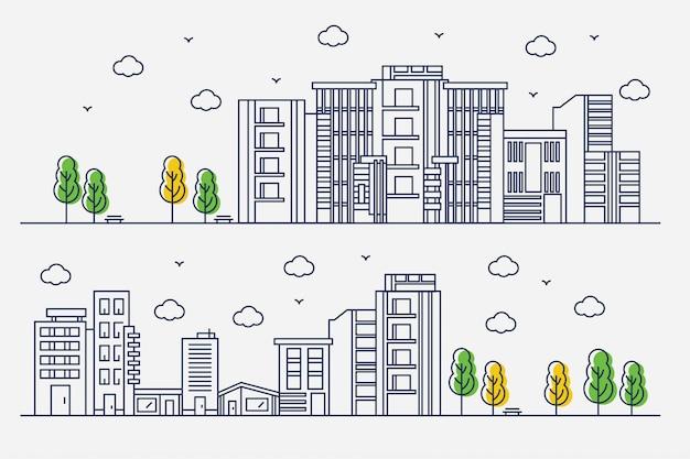 Conception de la ville avec un style de ligne mince