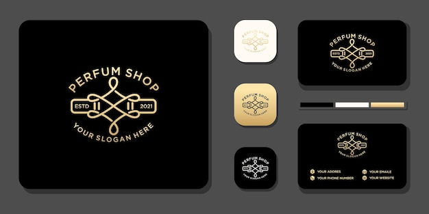 Conception vintage de logo de parfum de luxe et référence de modèle de carte de visite