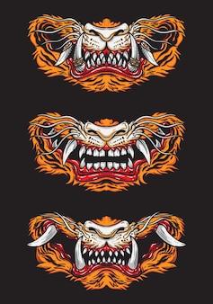 Conception vintage de masque facial de tigre