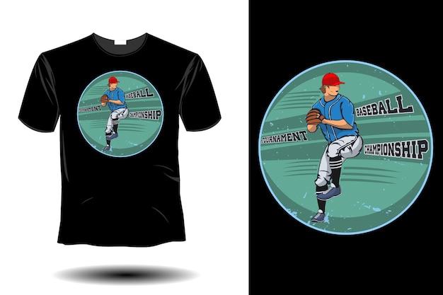 Conception vintage rétro de championnat de baseball de tournoi