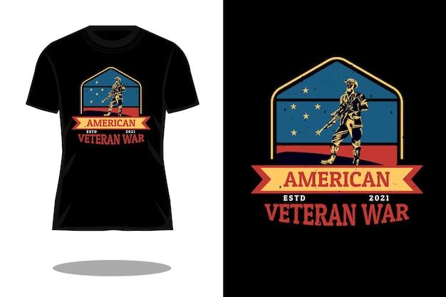 Conception vintage rétro de guerre de vétéran américain