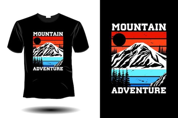 Conception vintage rétro de maquette d'aventure de montagne