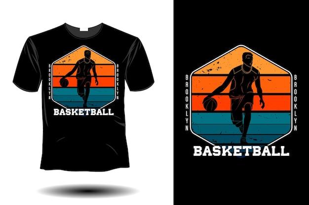 Conception vintage rétro de maquette de basket-ball de brooklyn