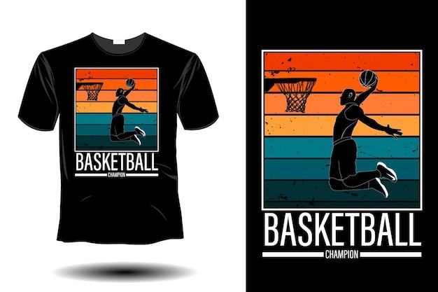 Conception vintage rétro de maquette de champion de basket-ball