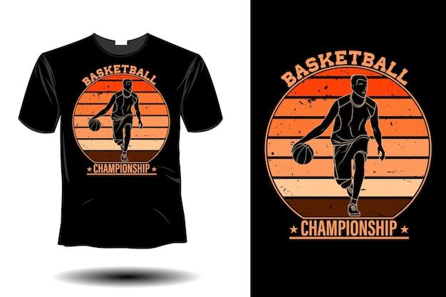 Conception vintage rétro de maquette de championnat de basket-ball
