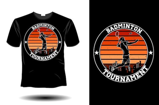 Conception vintage rétro de maquette de tournoi de badminton