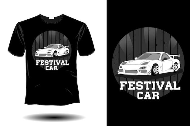 Conception vintage rétro de maquette de voiture de festival
