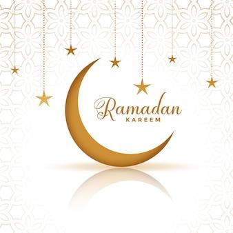 Conception de voeux créative ramadan kareem lune et étoiles