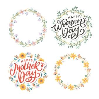 Conception de voeux élégante avec texte élégant jour de la femme heureuse sur des fleurs colorées