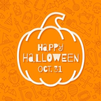 Conception de voeux d'halloween avec citrouille sur fond avec des symboles d'halloween