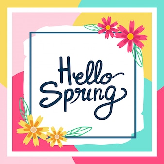 Conception de voeux joyeux bonjour carte printemps.