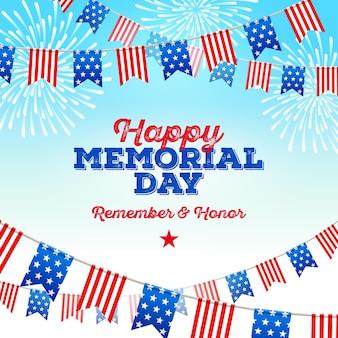 Conception de voeux memorial day usa guirlandes de drapeaux patriotiques contre un feu d'artifice festif
