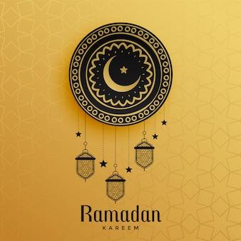 Conception de voeux ramadan kareem doré
