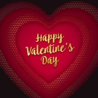 Conception de voeux saint valentin en forme de coeur