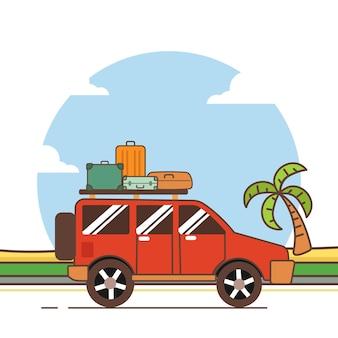 Conception de voyage de voiture d'illustration