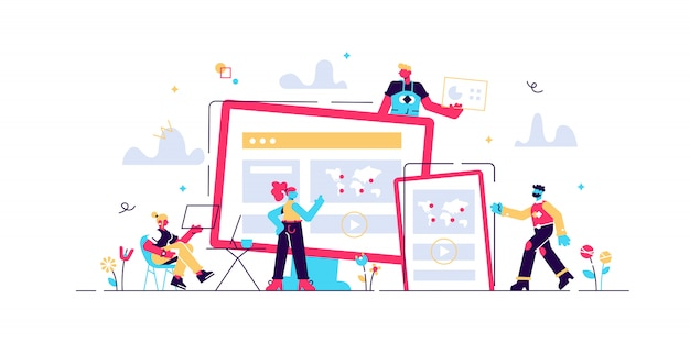 Conception web, interface utilisateur et organisation de contenu ux. concept de développement de conception web. illustration de concept isolé. conception liquide 3d avec des éléments floraux.