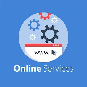 Conception web, technologie internet, développement de logiciels, services d'hébergement, solution en ligne, illustration
