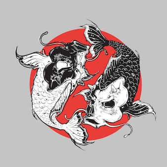 Conception de yin et yang koi