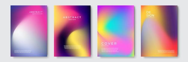 Conceptions abstraites de couverture géométrique dégradée vibrante, modèles de brochures à la mode, affiches futuristes colorées. illustration vectorielle.