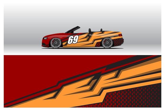Conceptions d'autocollants d'enveloppe de voiture. arrière-plan abstrait de course et de sport pour la livrée de course ou l'autocollant de vinyle de voiture à usage quotidien. décalque vecteur eps prêt à imprimer.