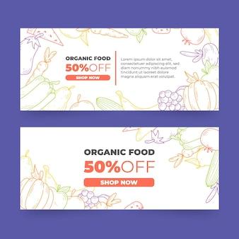Conceptions de bannières d'aliments biologiques