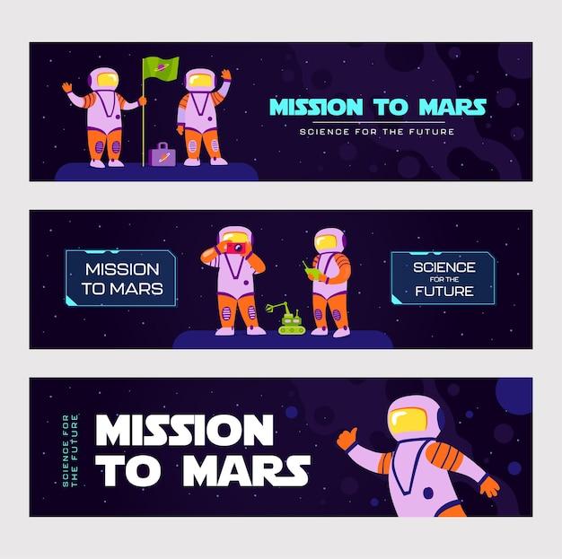 Conceptions de bannières élégantes pour la mission sur mars