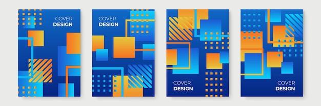 Conceptions de couverture géométrique dégradé abstrait bleu et orange, modèles de brochure à la mode, affiches futuristes colorées. illustration vectorielle
