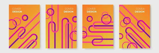 Conceptions de couverture géométrique à dégradé abstrait orange, modèles de brochures à la mode, affiches futuristes colorées. illustration vectorielle