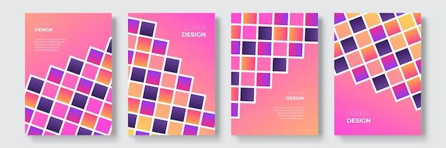 Conceptions de couverture géométriques dégradées abstraites, modèles de brochures à la mode, affiches futuristes colorées. illustration vectorielle. échantillons mondiaux