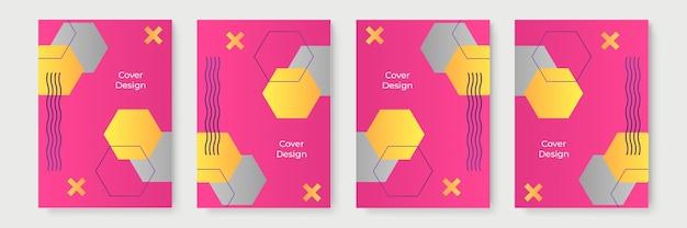 Conceptions de couverture géométriques dégradées abstraites, modèles de brochures à la mode, affiches futuristes colorées. illustration vectorielle