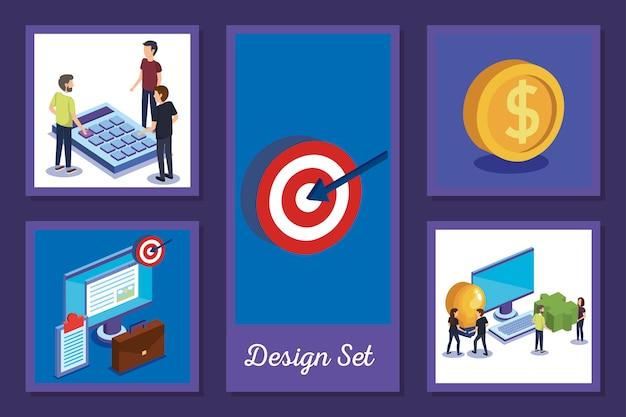 Les conceptions définissent le travail d'équipe avec des personnes et des icônes