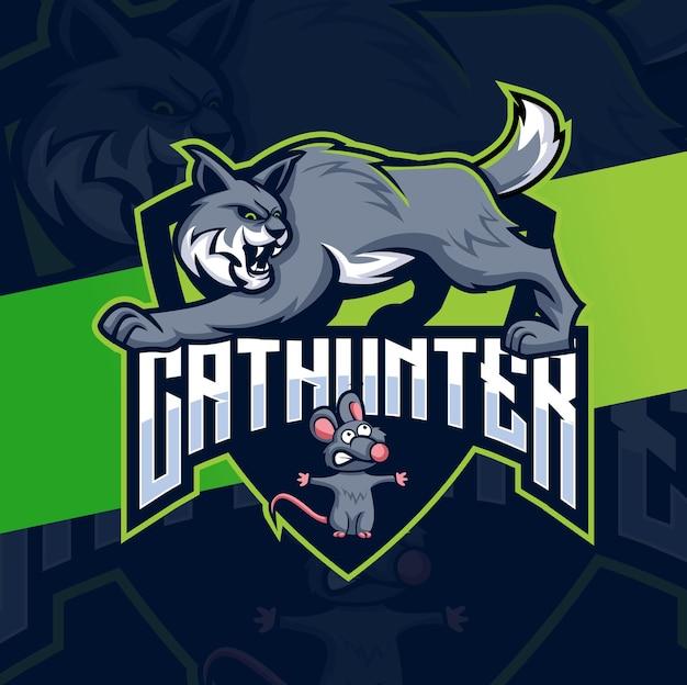 Conceptions de logo de chasseur de chat avec le personnage de mascotte de chat et de souris pour le logo de jeu et d'animal