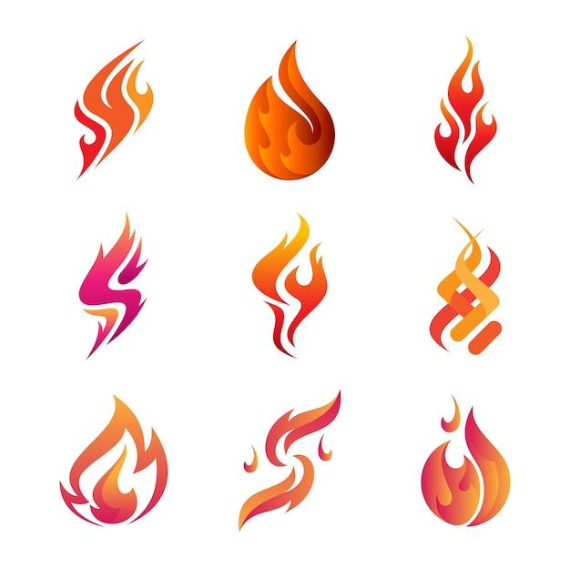 Conceptions de logo de feu, jeu d'icônes de feu