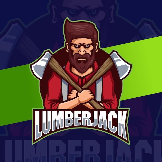 Conceptions de logo de mascotte de personnage de bûcheron fort avec hache pour homme et conception de logo de jeu