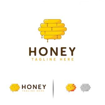 Conceptions de logo de miel, icône en nid d'abeille